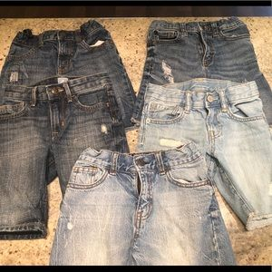 Lot of 5 pair boys distressed denim shorts size 5T
